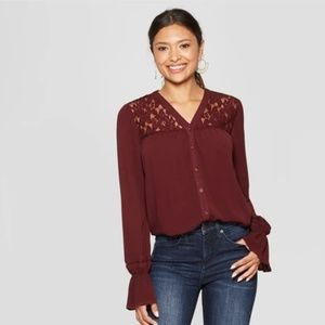 Women's Long Sleeve Collarless Lace Inset Button